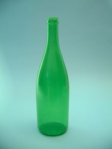 Green wine bottle made of sugar glass