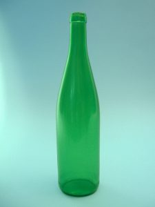 Wijnfles groen, 07 liter. Afmeting 31 x ø 7,5 cm.