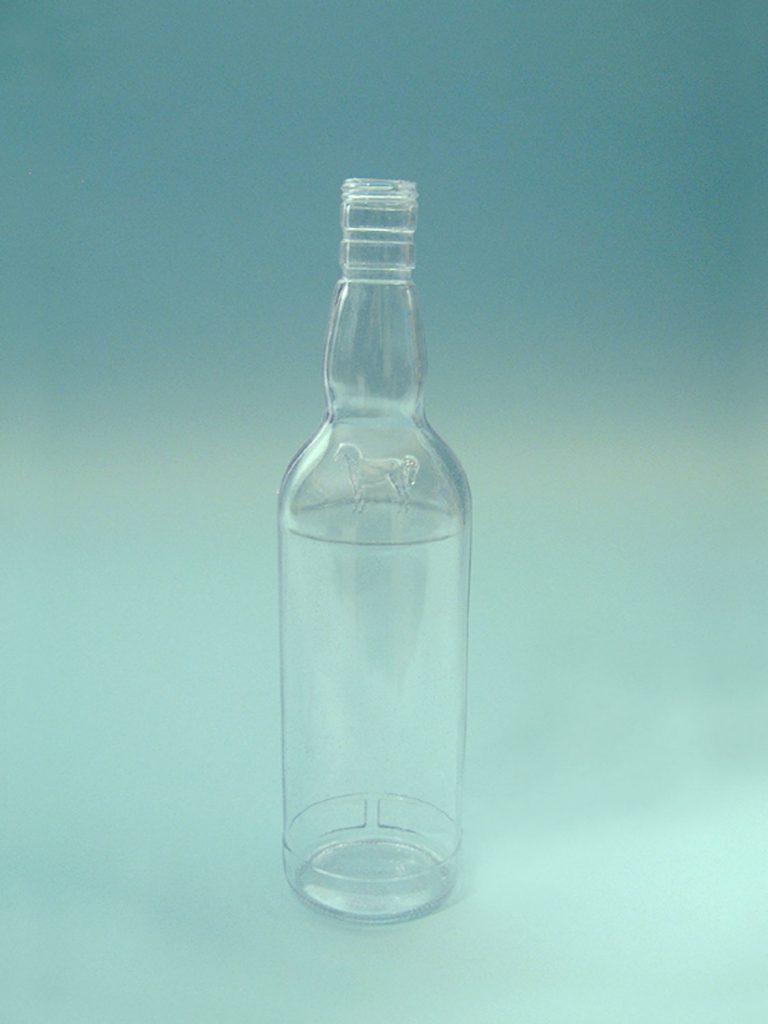 Sugar Glass Whiskey Bottle. Height x diameter is 29 x ø 8 cm. Color blank