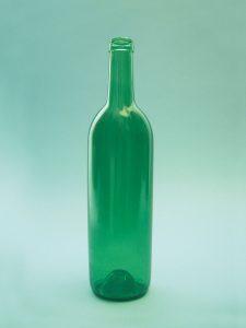 Suikerglas, Wijnfles Bordeaux, groen, 0,7 liter model , 29 cm x ø 9 cm