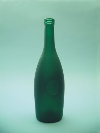 Sugar glass cognac bottle green. Height x diameter: 30 cm x ø 8 cm.