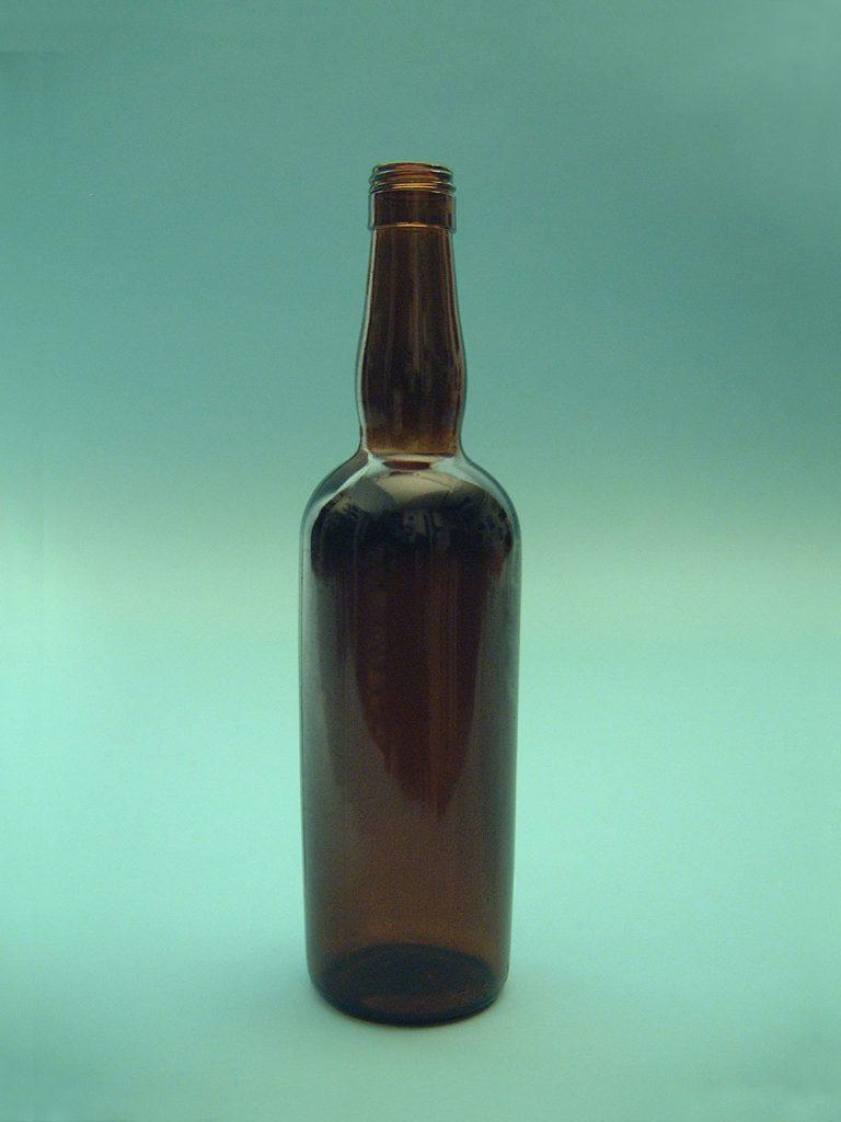Sugar glass Whisky bottle Madeira, color brown, 29 x 7 centimeter.