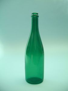 Suikerglas Sektfles, groen,30 x ø 8 cm.