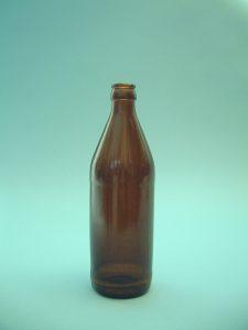 Sugar glass beer bottle. Old-fashioned model, Brown, Height 23 x ø diameter 7.5 cm