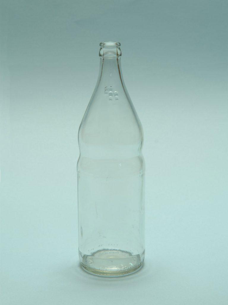 Sugar glass Mineral water bottle 1 Liter, clear, 29 x ø 8.5 cm.