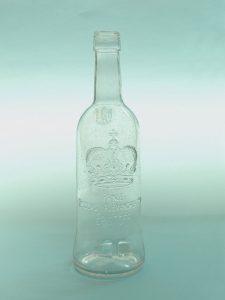 Sugar glass Vodka Eristoff bottle. Height 26.5 x ø 7.5 cm. Clear sugar glass.