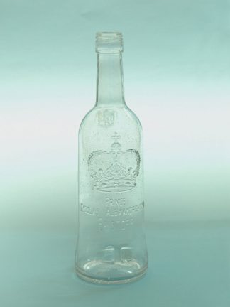 Sugar glass Vodka Eristoff bottle. Height 26.5 x ø 7.5 cm. Clear sugar glass.