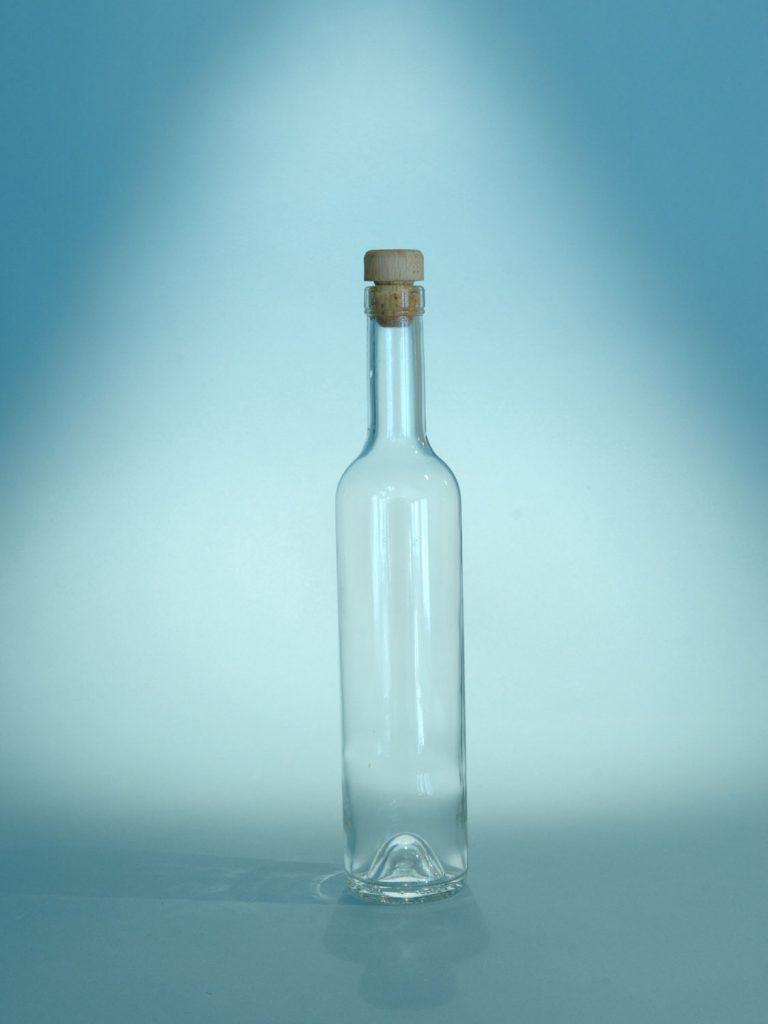 Sugar glass transparent Schnaps bottle 500ml. 29.8 x ø 6.1 cm.