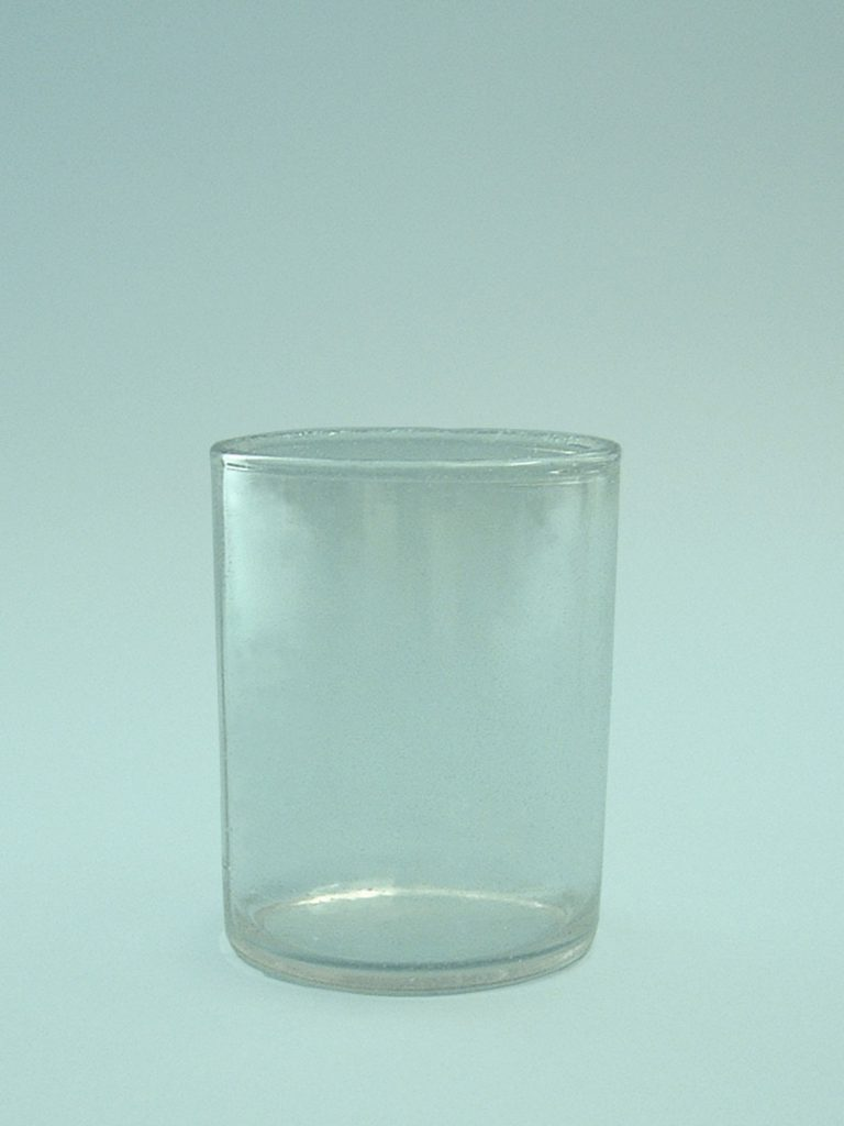 Sugar glass water glass. 9 centimeters high and 7.3 cm in diameter.