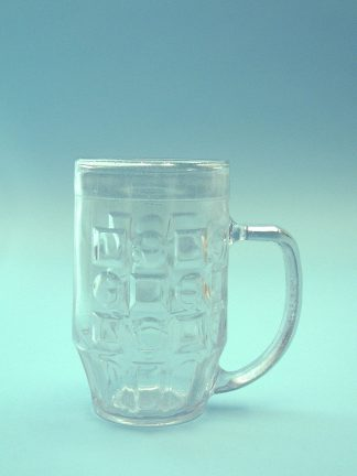 Sugar glass beer mug, transparent. 0.5L. 16 x 9.8 cm.