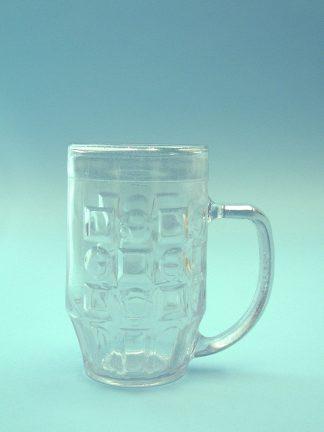 Bierpul van suikerglas, doorzichtig. 0,5L. 16 x 9,8 cm.