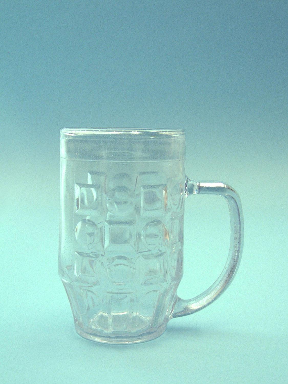 Sugar glass beer mug, transparent. 0.5L. 16 x 9.8 cm.