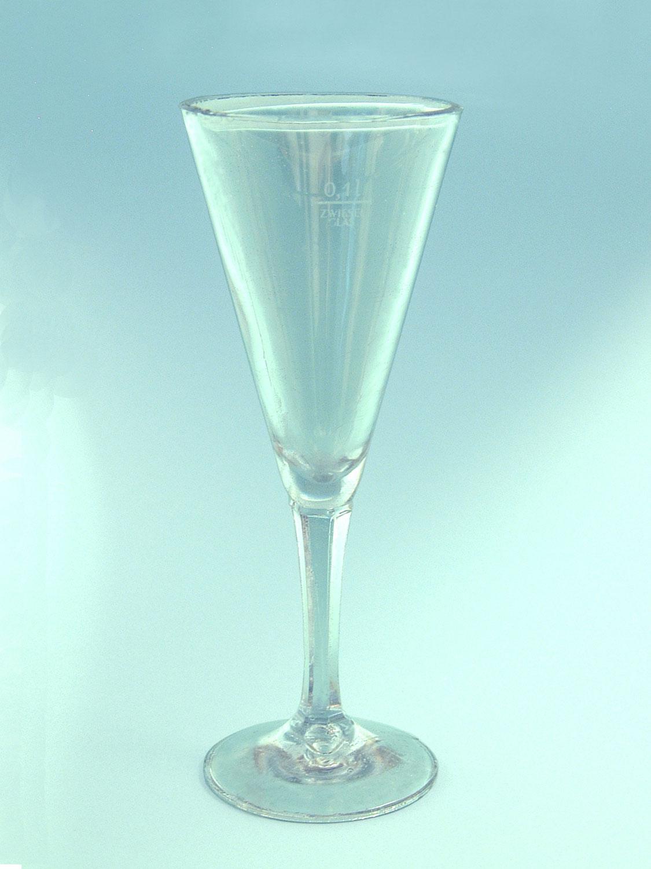 Sparkling glass made of sugar glass. Long stem-conical, HxW 19.5 x 7.5 cm.