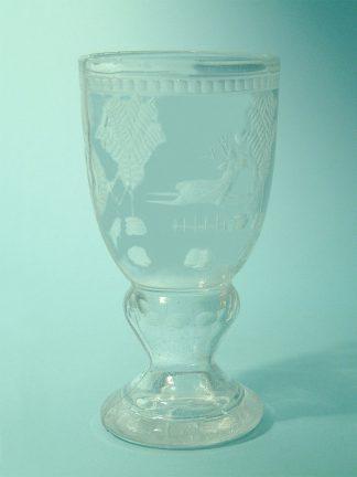 Suikerglas - veiligheidsglas- Wijnkelk herdersmotief 15,5 x 8 cm.