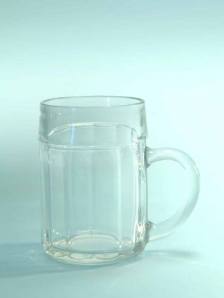 Beer mug 0.5 liter content. Cartel motif. H * W is: 13.5 x 9.3 cm