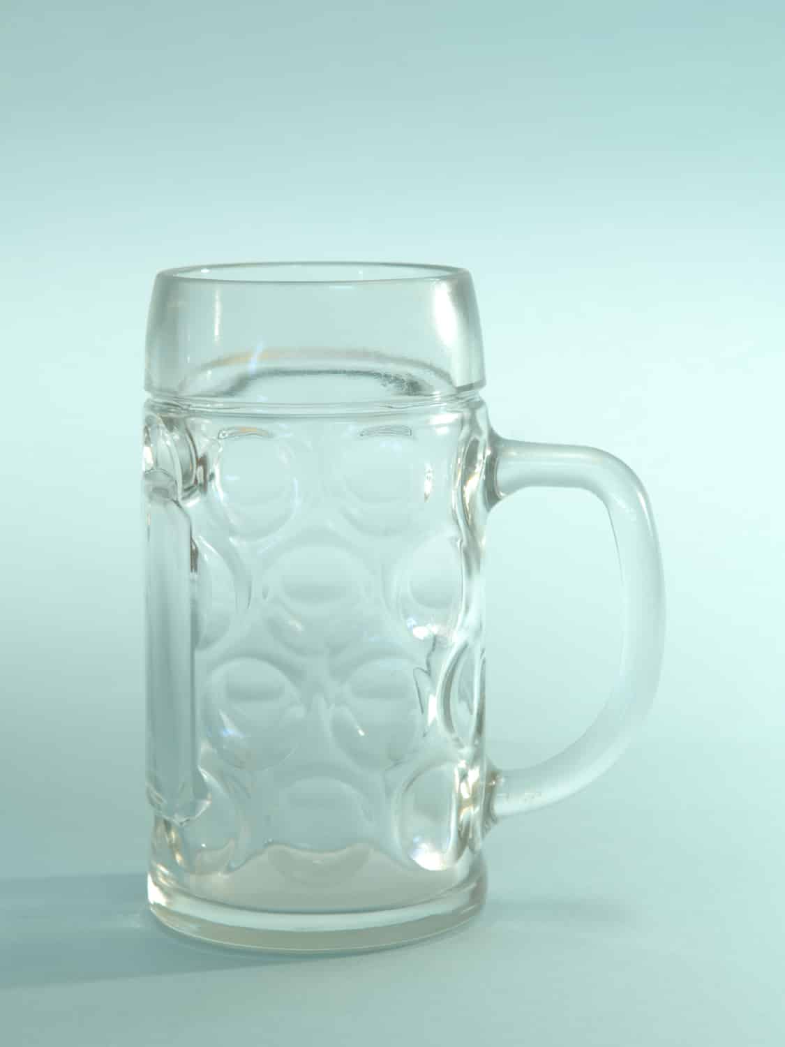 Sugar glass Beer stein, transparent. Content 0.5 liters. Height x Width: 16.4 x 8.5 cm.