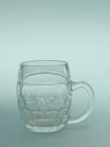 Sugar glass, small beer stein mug 0.3L belly model 10.5 x 8.9 cm.