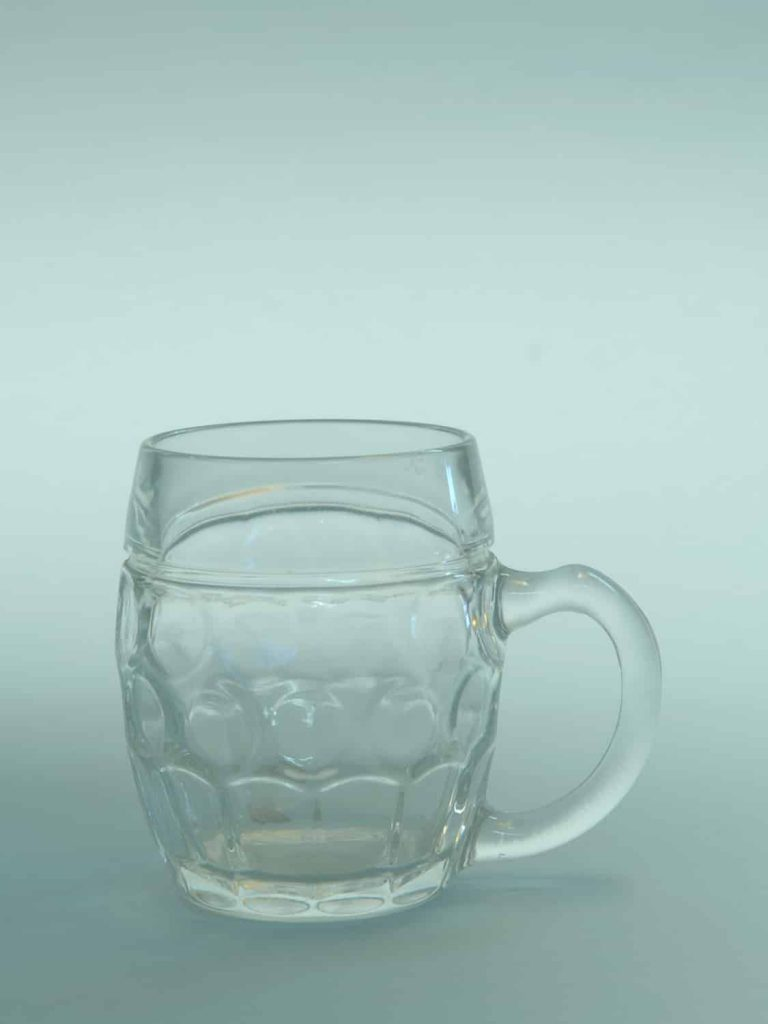 Sugar glass, small beer mug 0.3L belly model 10.5 x 8.9 cm.