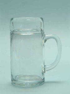 Beer stein / Sugar glass water jug / beer mug 1L smooth. Height x Width: 20 x 10.5 cm.