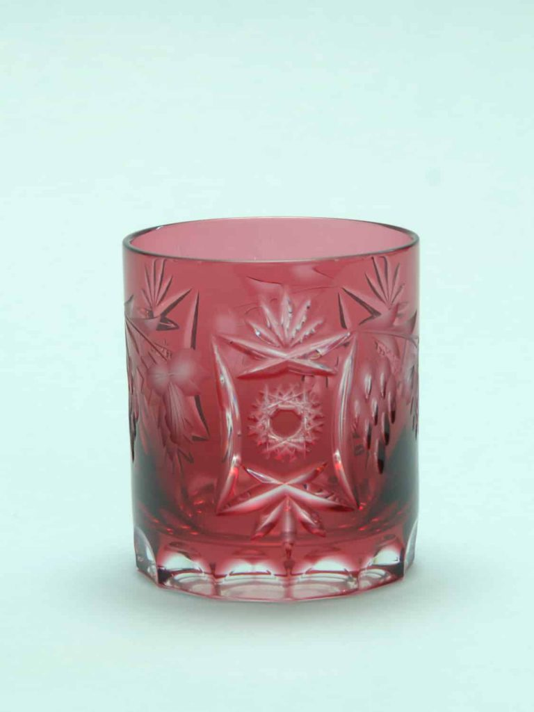 Clear sugar glass, transparent Whiskey glass cut cylindrical, 9 x 8 cm. WHITE!