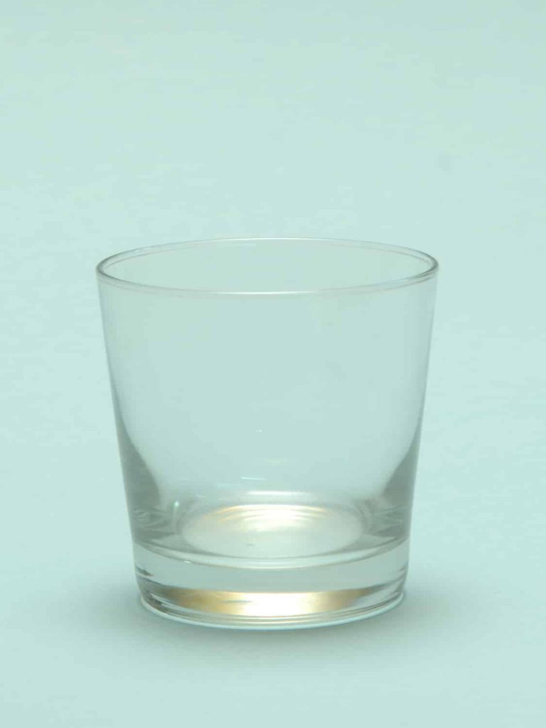 Sugar glass for film, video recordings. Whiskey glass smooth conical, H * W 8.2 x 8.3 cm.