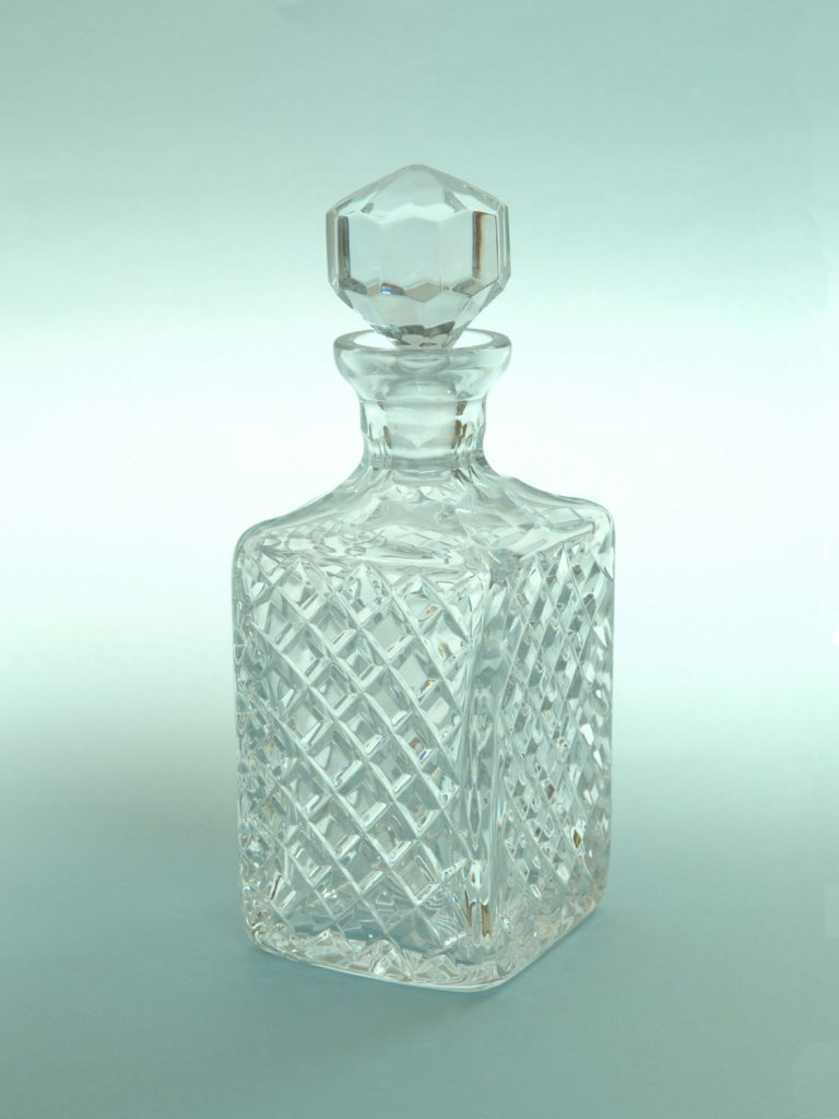 "Sugar glass Crystal carafe, ""Checkered"", size 19.5 (25.5) x ø 9.5 cm."
