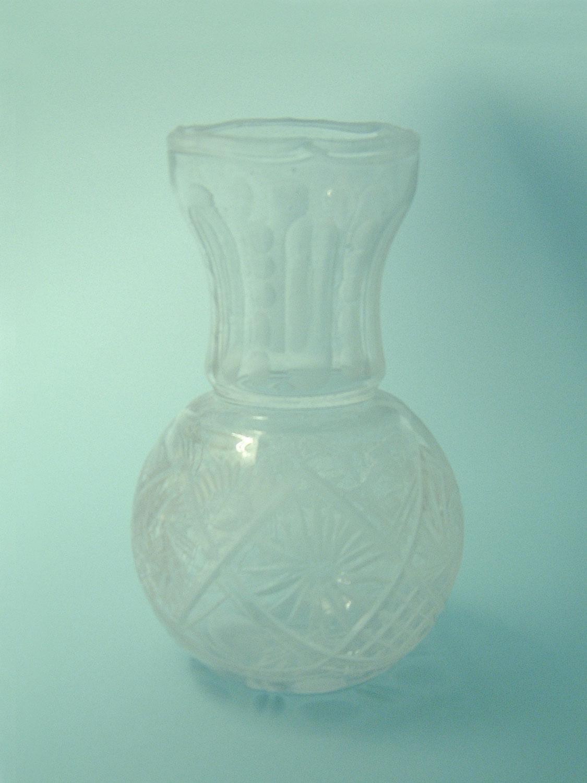 Doorzichtig suikerglas Kristalvaas kogelvorm 21,5 x 13 cm.