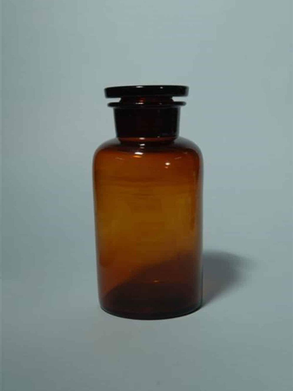 Bruin suikerglas Laboratoriumfles, 1000 ml. 20 cm x ø 10,8 cm.