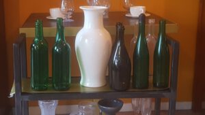 Sugar glass (Breakaway's) vases, windows, bottles and glasses.