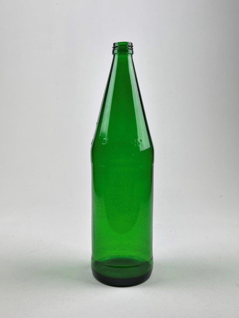 Suikerglas fles, mineraalwater. Kleur is GROEN / Bruin of transparant.